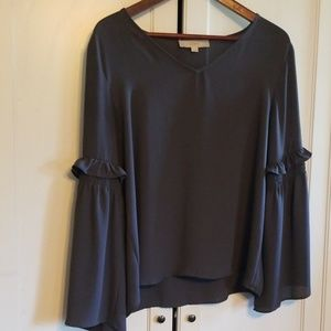 Loft long sleeve top grey with flared sleeves M